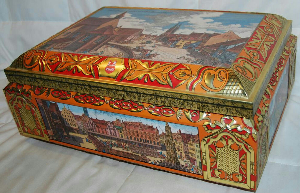16 5 vintage e otto schmidt nurnberg prospect tin box germany ebay. Black Bedroom Furniture Sets. Home Design Ideas