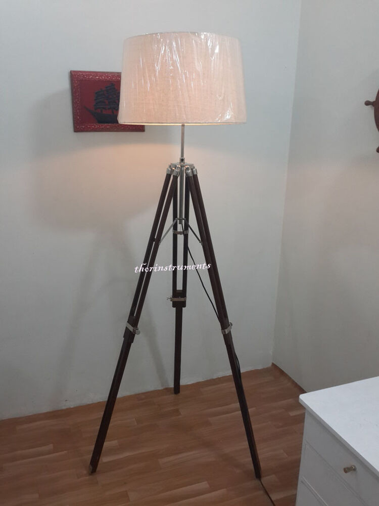 vintage tripod floor lamp nautical style floor lamp with chrome finish. Black Bedroom Furniture Sets. Home Design Ideas