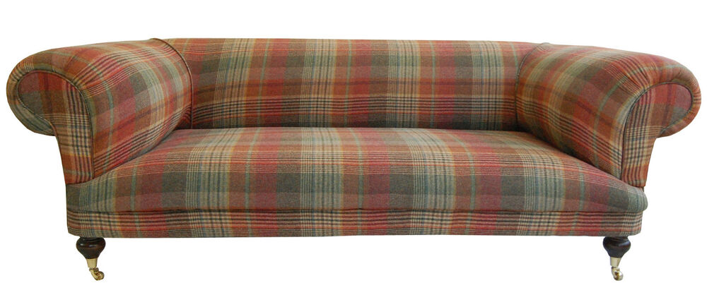 Large New Hand Built Tartan Chesterfield Sofa Ebay