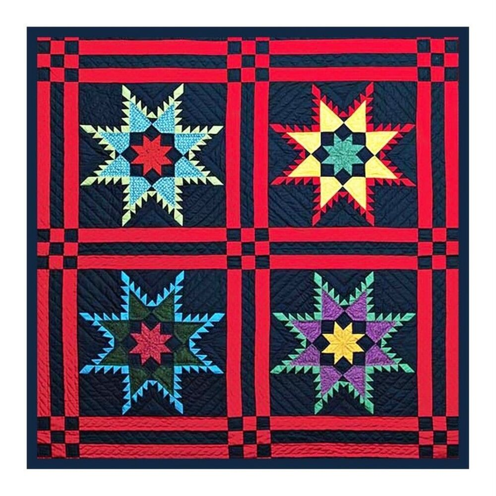 4 Feathered Stars inspired by Amish Quilt Counted Cross Stitch Chart eBay