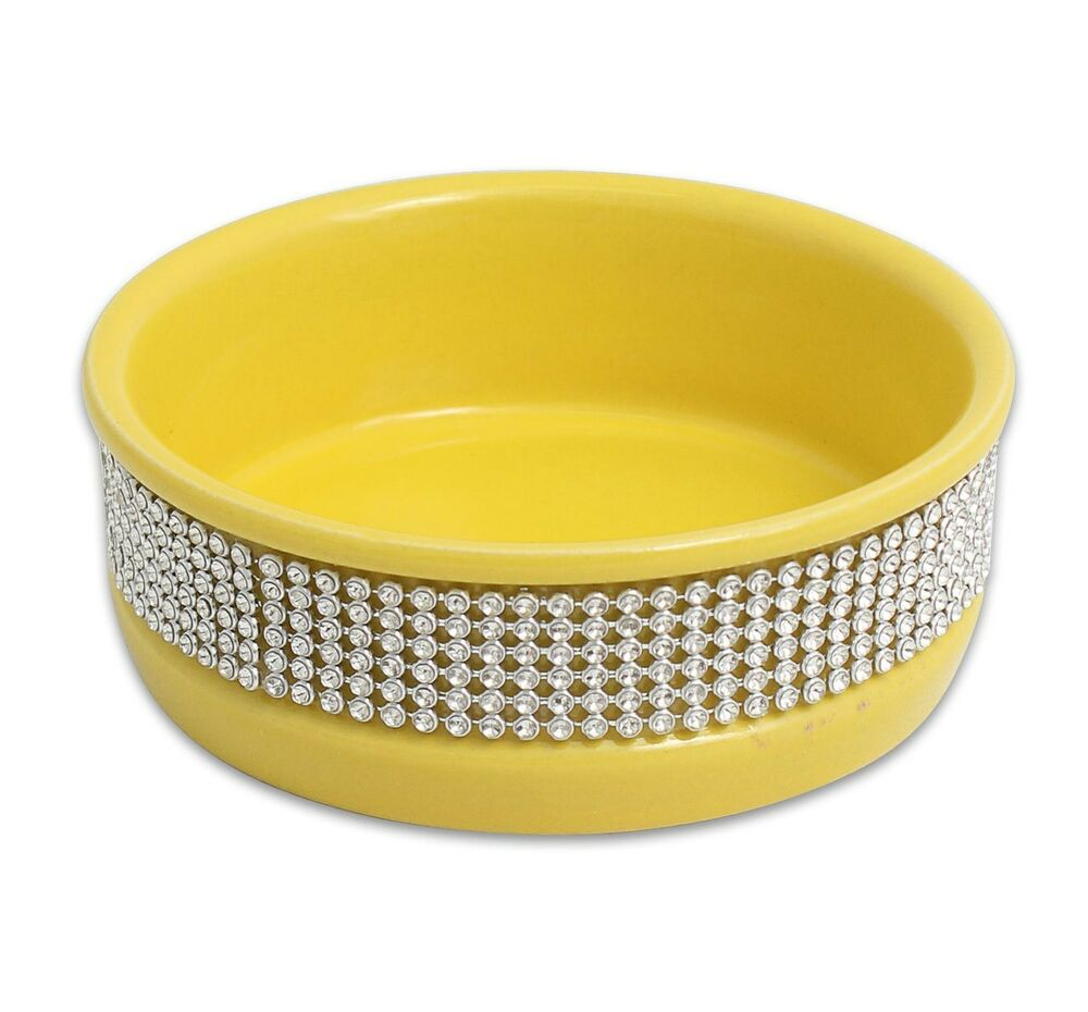 "Puppy Diamond Dog Food >> CAT DOG PET BOWL 4.5"" Yellow CUTE PAWS DIAMOND STONE DISH FOOD CERAMIC WATER 