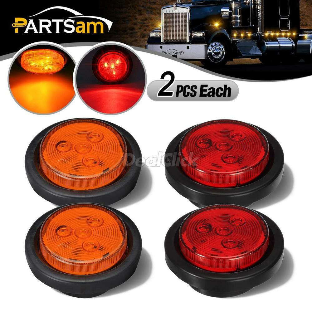 2amber 2 Red Truck Trailer 2 5 Quot Round Side Marker Led