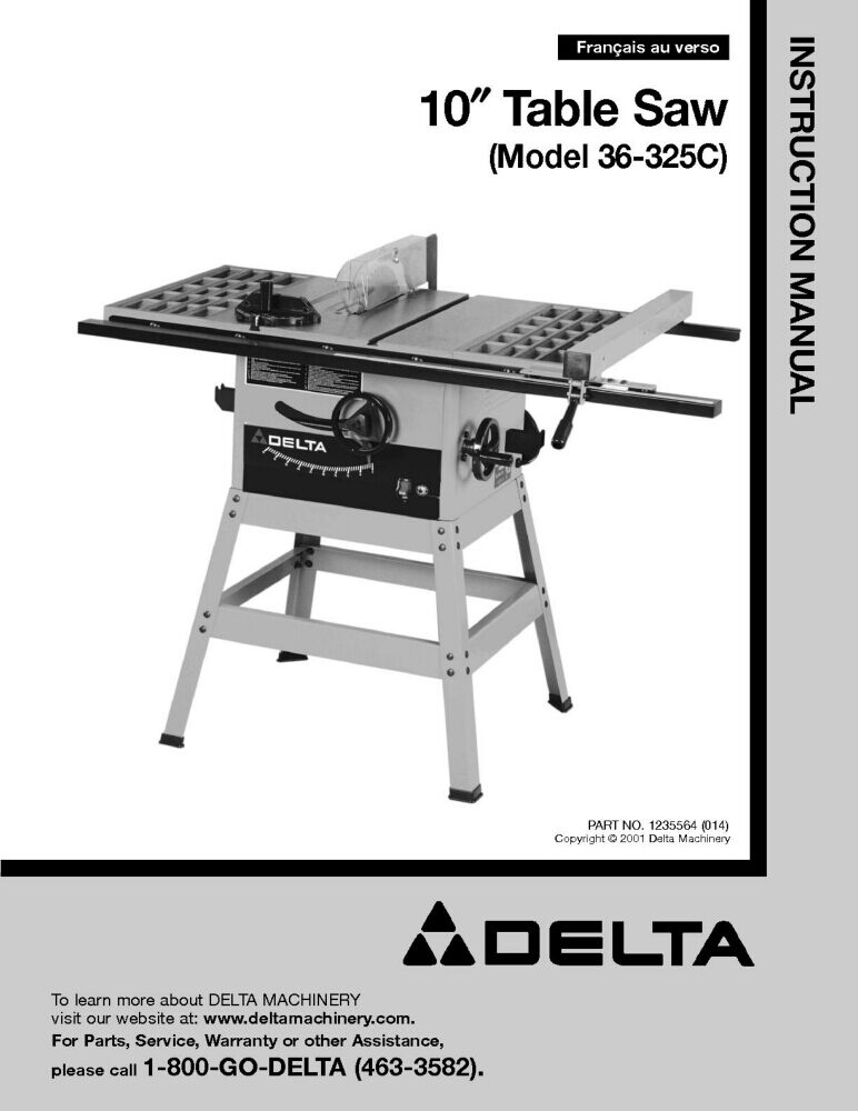 Delta 36 325c 10 table saw instruction manual ebay for 10 inch delta table saw