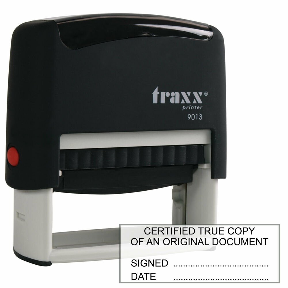 Traxx 9013 Certified True Copy Rubber Stamp For