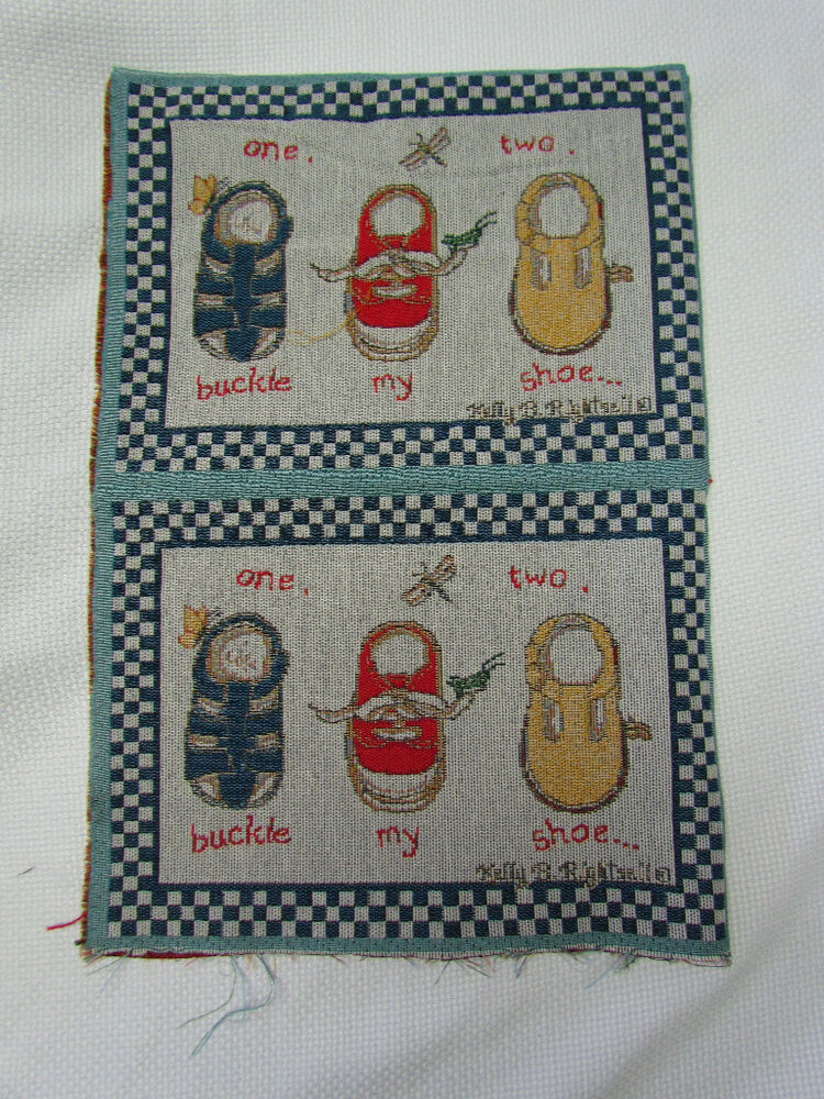 One two buckle my shoe childrens nursery rhyme tapestry for Children s fabric panels