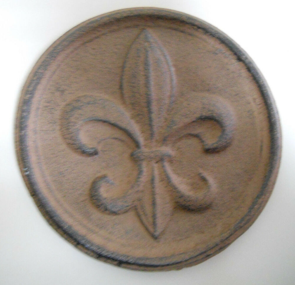 Cast Iron FLEUR DE LIS Plaque Finial Garden Sign Home Wall ...