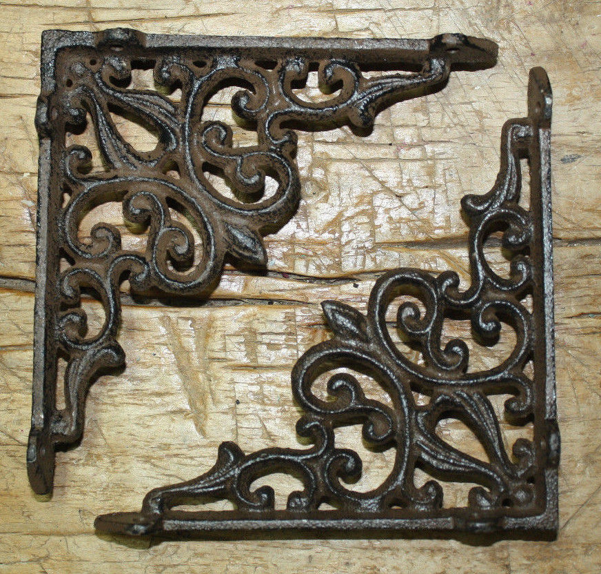 6 cast iron antique style heart brackets garden braces for Architecture antique