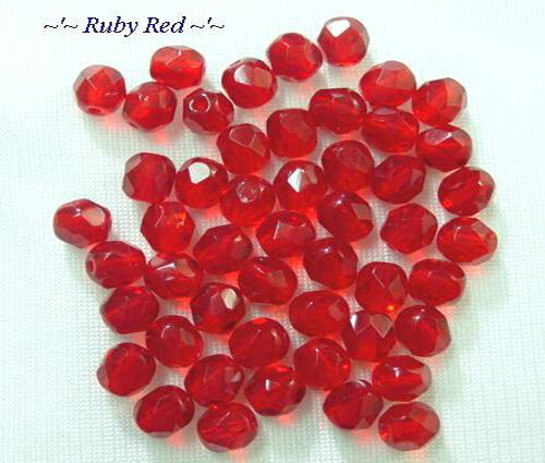 Red Ruby Beads: 50 Ruby Red Faceted Round Glass Beads 6MM