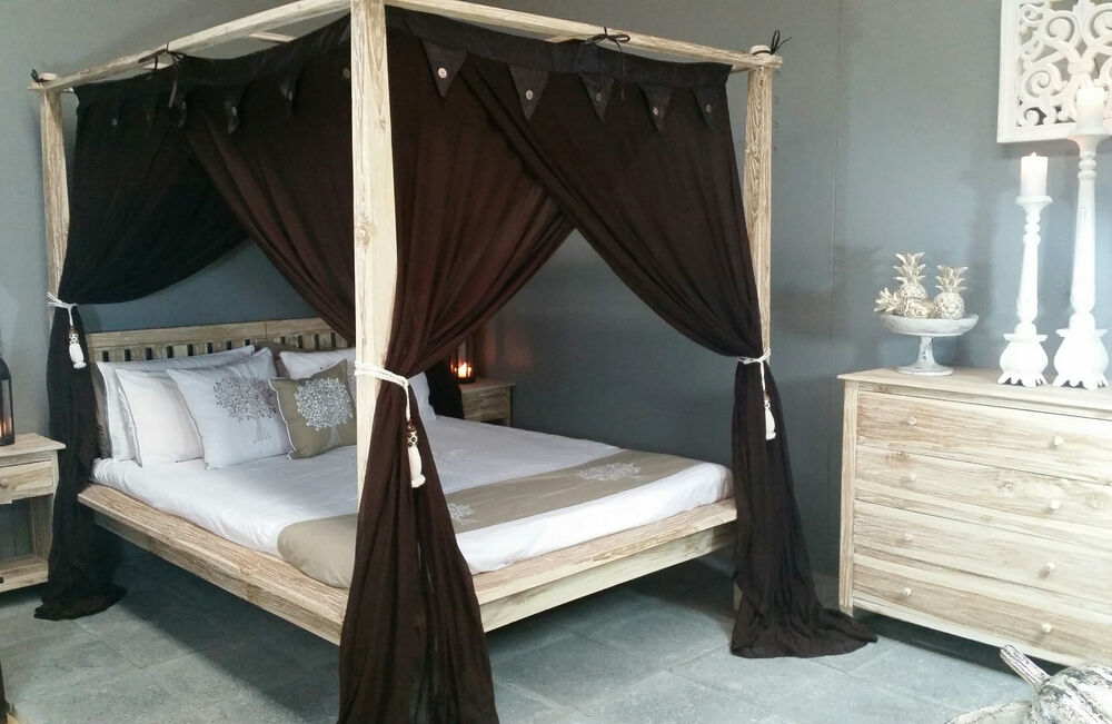 Four Poster Bed Brown Canopy Mosquito Net Curtain King
