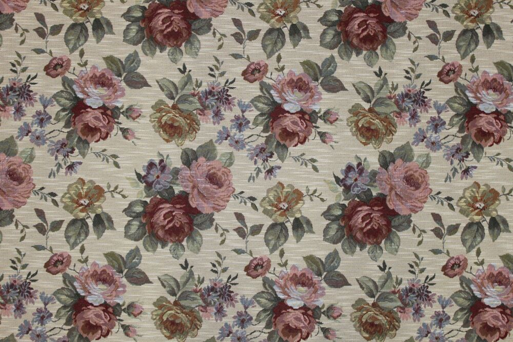 7 yards floral tapestry upholstery fabric heavy rose for Victorian floral fabric