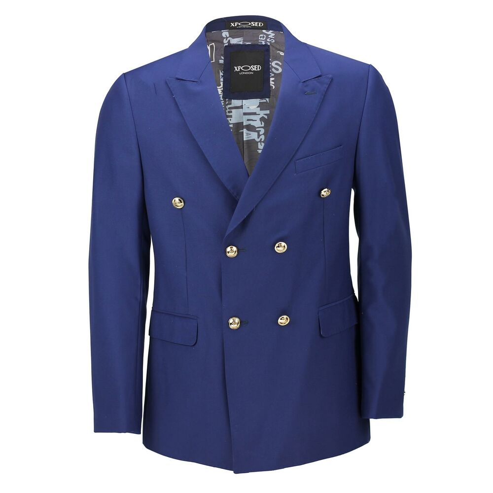 Mens Classic Fitted Double Breasted Navy Blue Blazer Gold ...