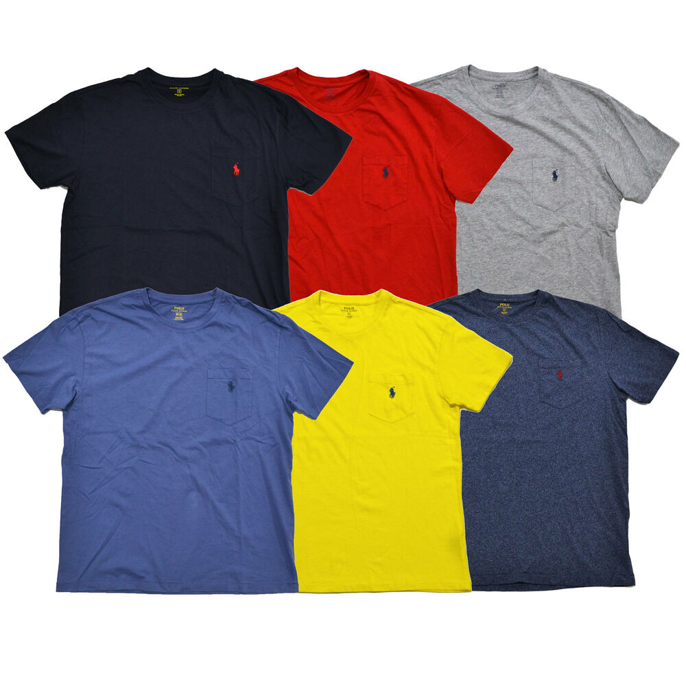 polo ralph lauren mens pocket t shirt short sleeve crew neck tee pony logo new ebay. Black Bedroom Furniture Sets. Home Design Ideas