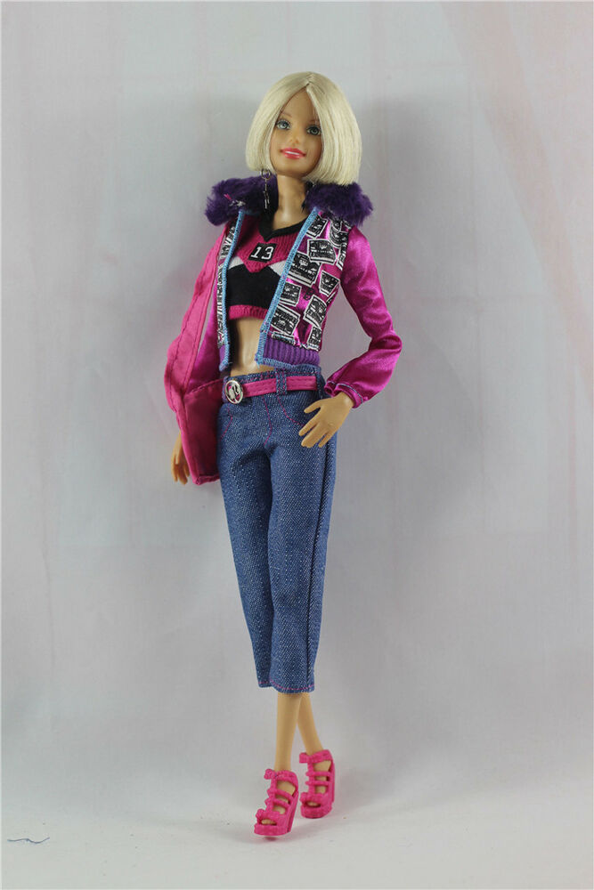 5in1 Clothes Outfit Jacket+Vest+Pants+Bag+Shoes FOR Barbie ...