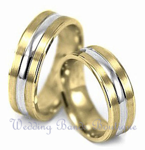10k Two Tone White Yellow Gold His Hers Matching Set