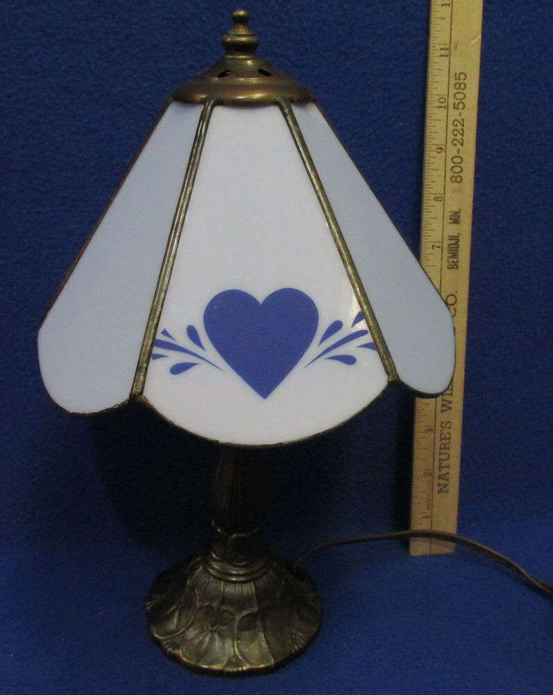 1980 S Stained Glass Lamp : Vintage electric table lamp metal base light blue meyda