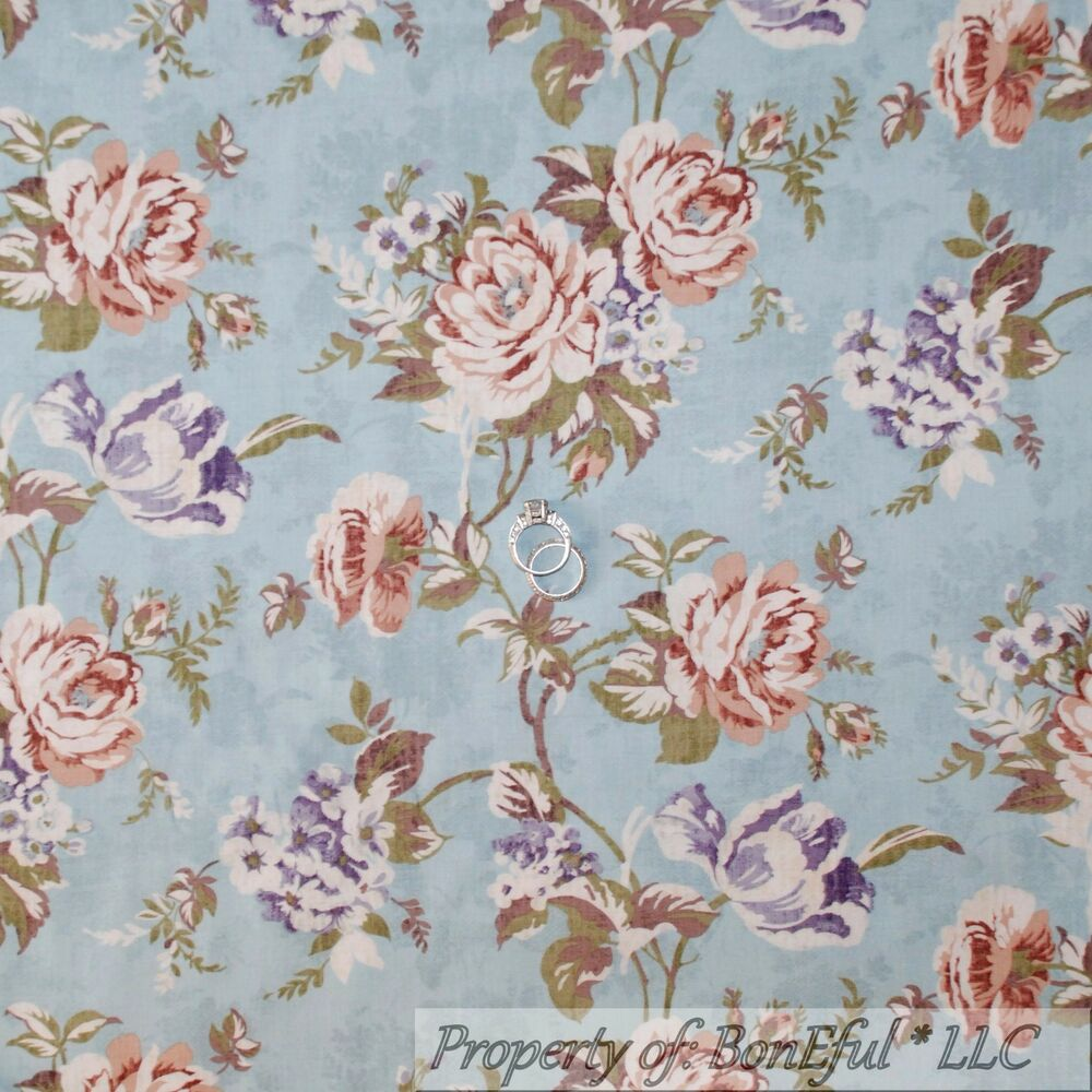 Boneful fabric fq cotton quilt blue rose flower toile for Victorian floral fabric