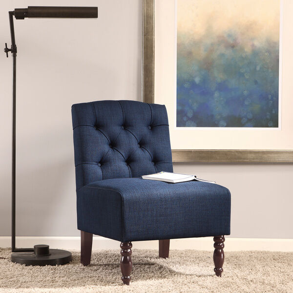 lola navy tufted armless chair century lounge mid new room side style vintage ebay. Black Bedroom Furniture Sets. Home Design Ideas