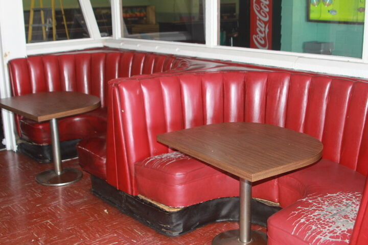 Antique restaurant booth from the historic wagon wheel