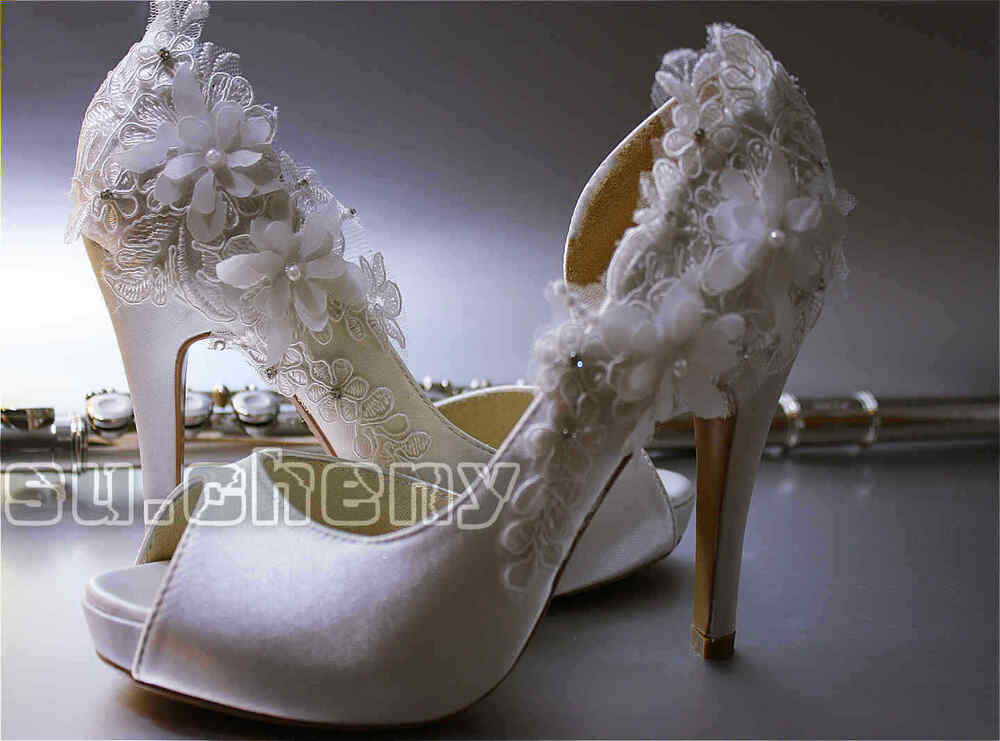 Ivory Satin Lace Bow Open Toe Platform Heels Bridal