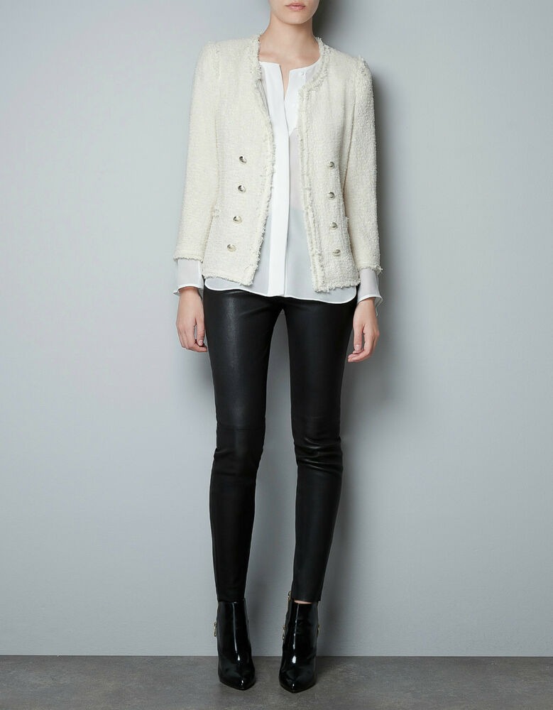 Zara White Tweed Blazer New Large