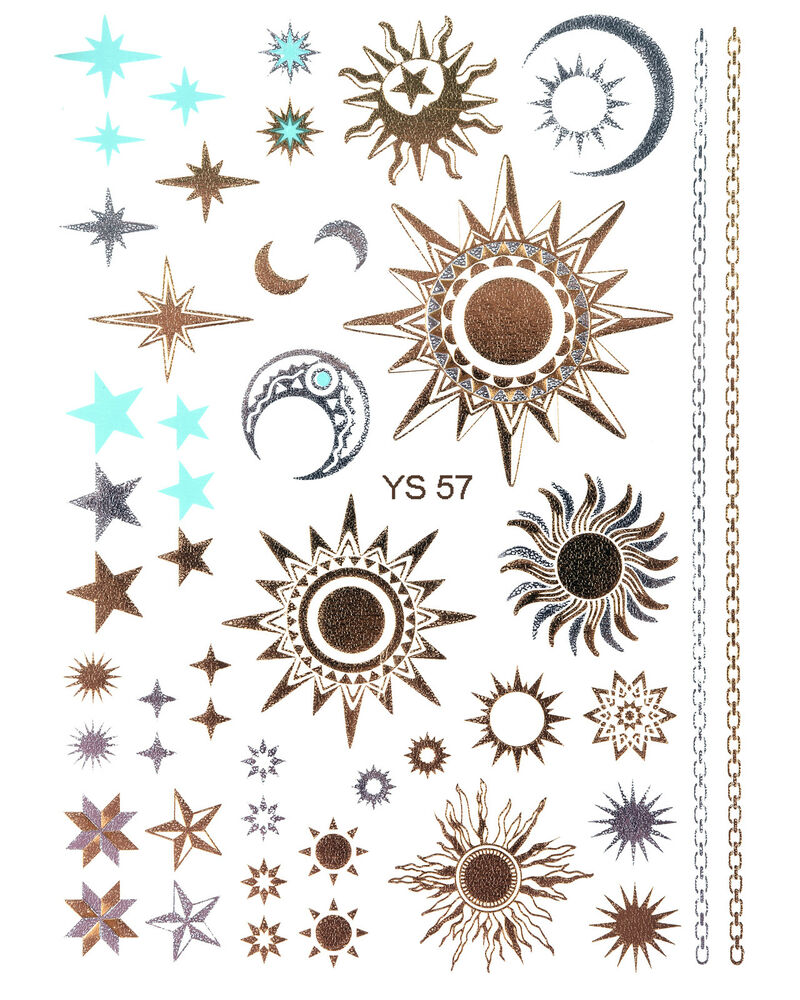gold tattoo flash tattoos sterne sonne mond ornamente ber 40 teile ys 57 ebay. Black Bedroom Furniture Sets. Home Design Ideas