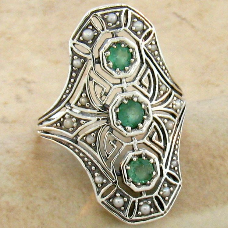 genuine emerald pearl 925 sterling vintage art deco style silver ring 753 ebay. Black Bedroom Furniture Sets. Home Design Ideas