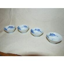 Antique Japanese Blue and White Porcelain Sake Cups 4 pieces