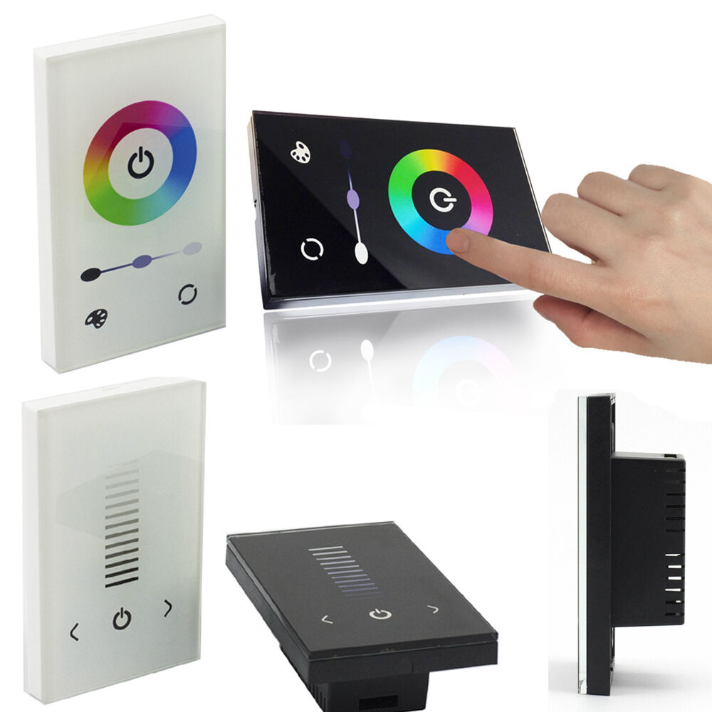 Led Strip Light Wall Dimmer: Touch Full-color Dimmer Controller Wall Switch For Single