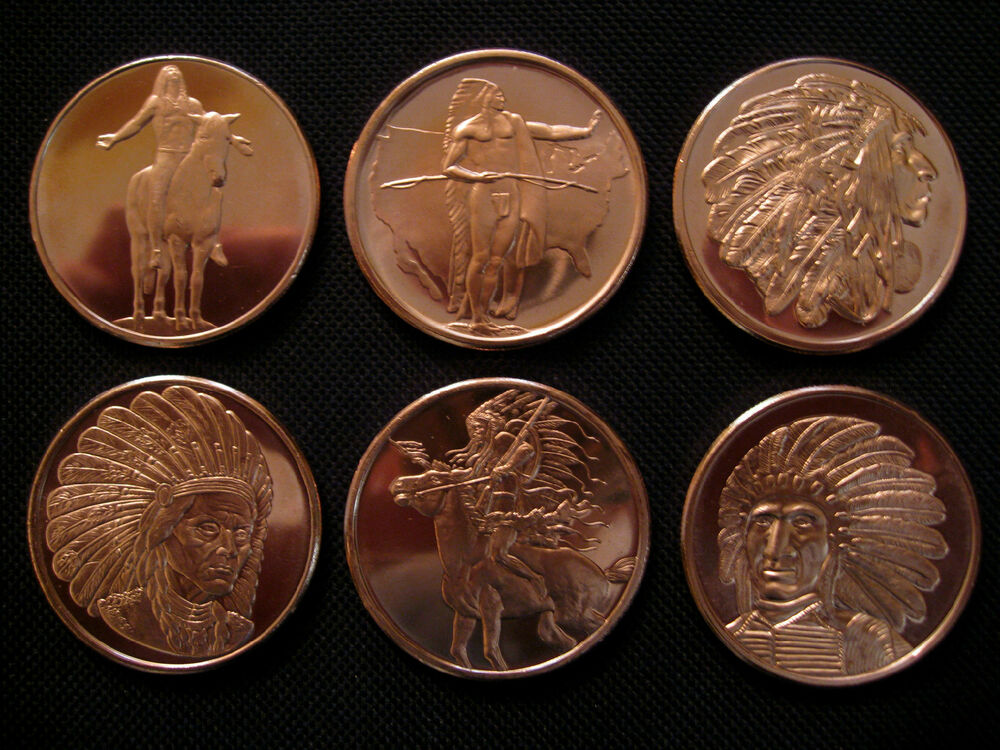 6 Ounce 999 Copper Round American Indian Series 6 Coins
