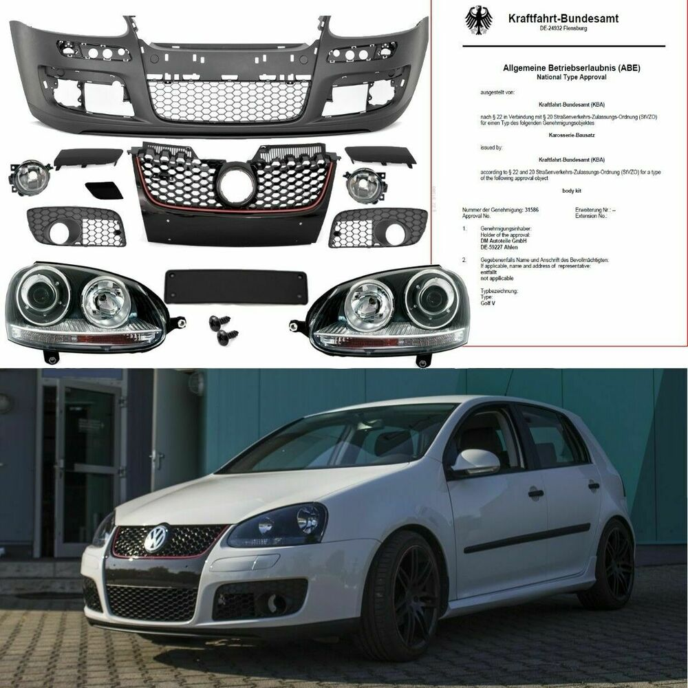 vw golf 5 v sto stange k hlergrill scheinwerfer schwarz. Black Bedroom Furniture Sets. Home Design Ideas
