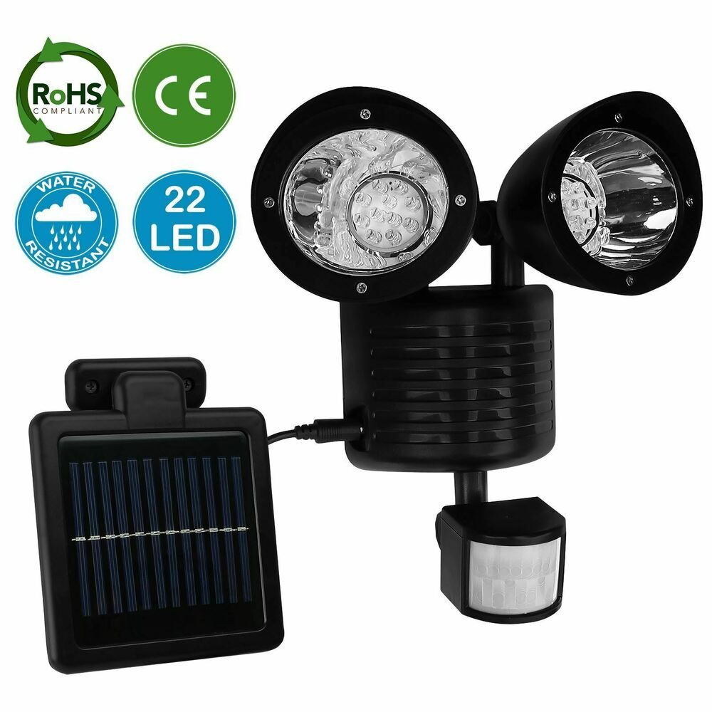 amos 22 led solar powered pir motion sensor security light. Black Bedroom Furniture Sets. Home Design Ideas