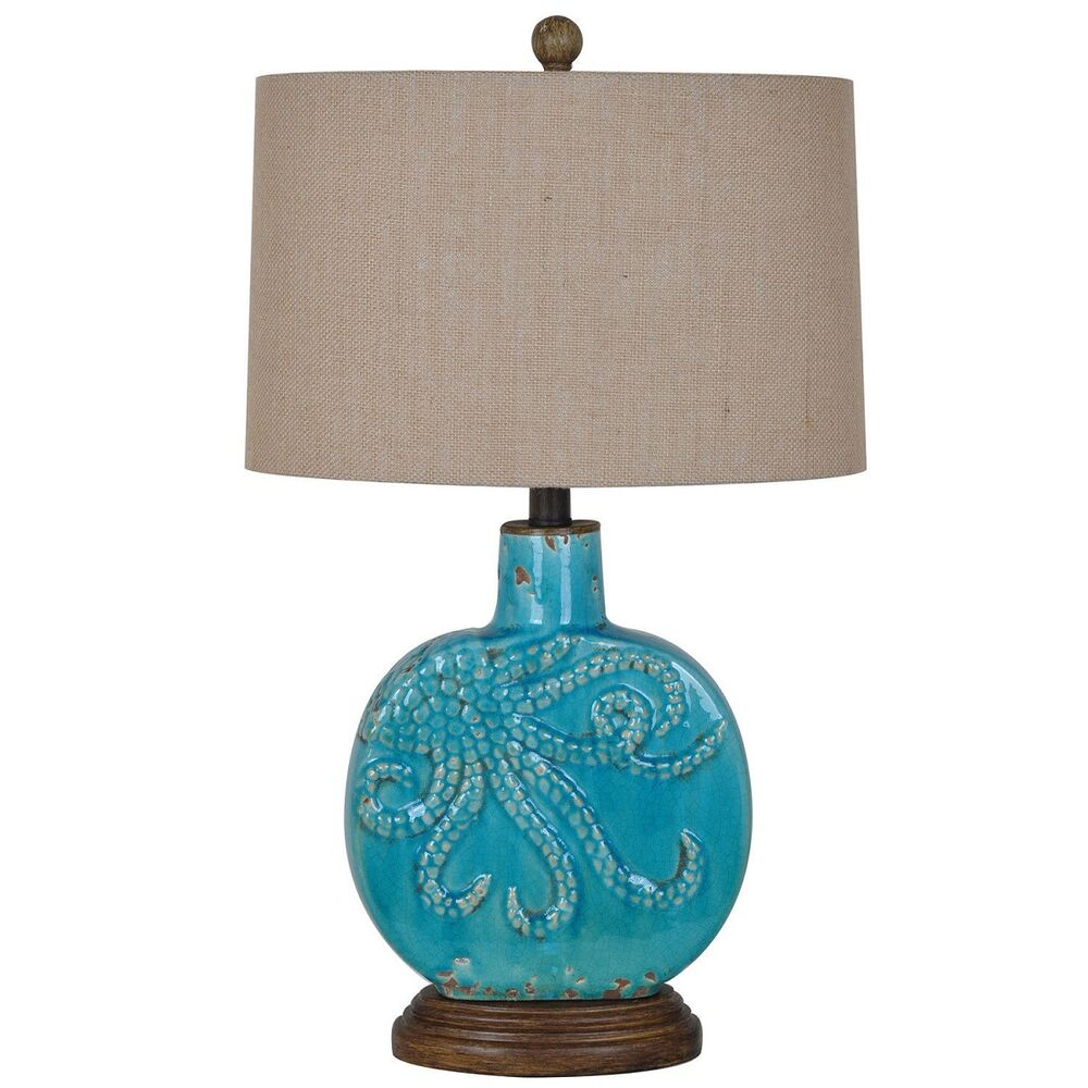 Octopus Table Lamp Turquoise Coastal Nautical Ocean Beach