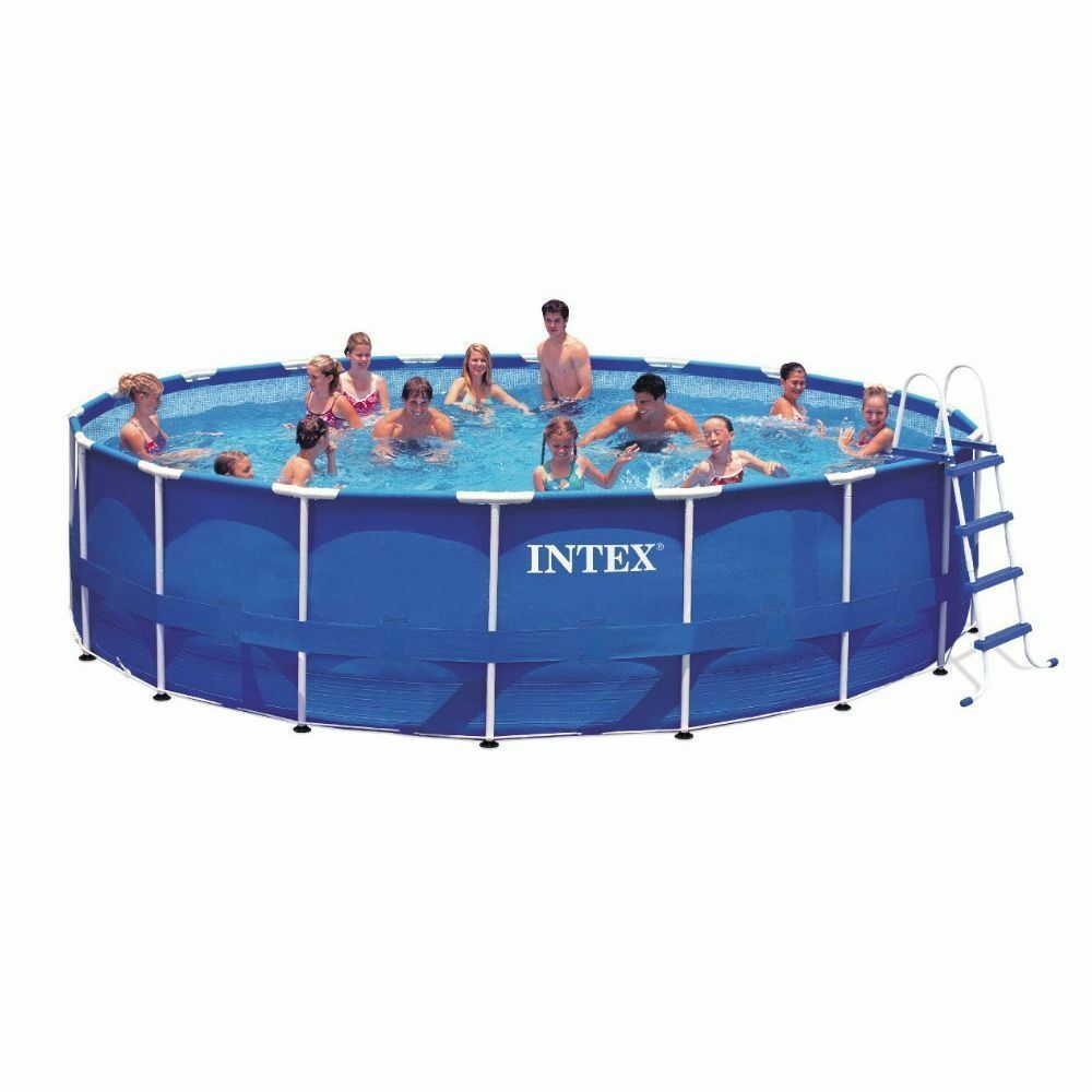 Intex pool set 15ft x 48in metal frame filter pump above ground round swimming ebay - Steel frame pool ...