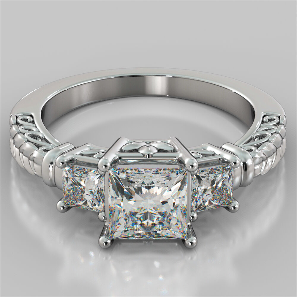 Stone Wedding Rings: 1.75Ct Princess Cut 3-Stone Designer Engagement Ring In