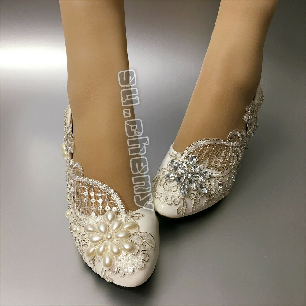 Su.cheny Lace White Ivory Crystal Flats Low High Heel Pump