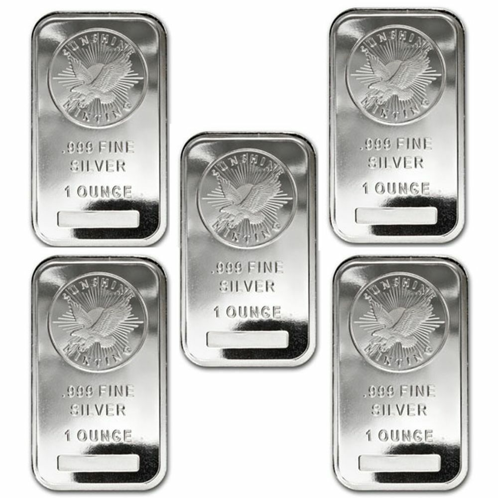 Lot Of 5 1 Oz Sunshine Minting Silver Bar 999 Fine