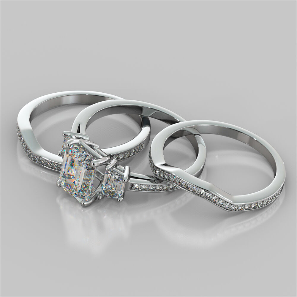 Matching Bands: 3.10Ct Emerald Cut Engagement Ring With 2 Matching Bands