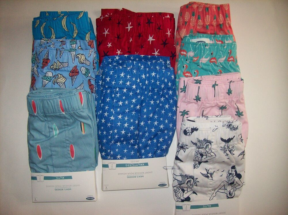 Shop Old Navy's Patterned Poplin Boxers 3-Pack for Men: Pack includes three pairs of boxers, each in a different color or pattern.,Elasticized waistband.,Fly front.,Soft-washed, lightweight cotton poplin, with all-over print or pattern.