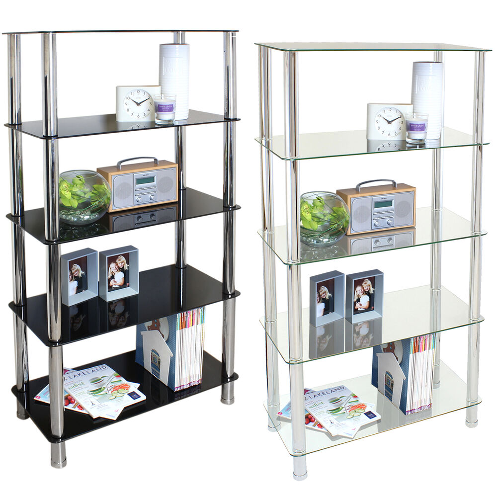 5 tier glass shelf unit home office lounge hall storage
