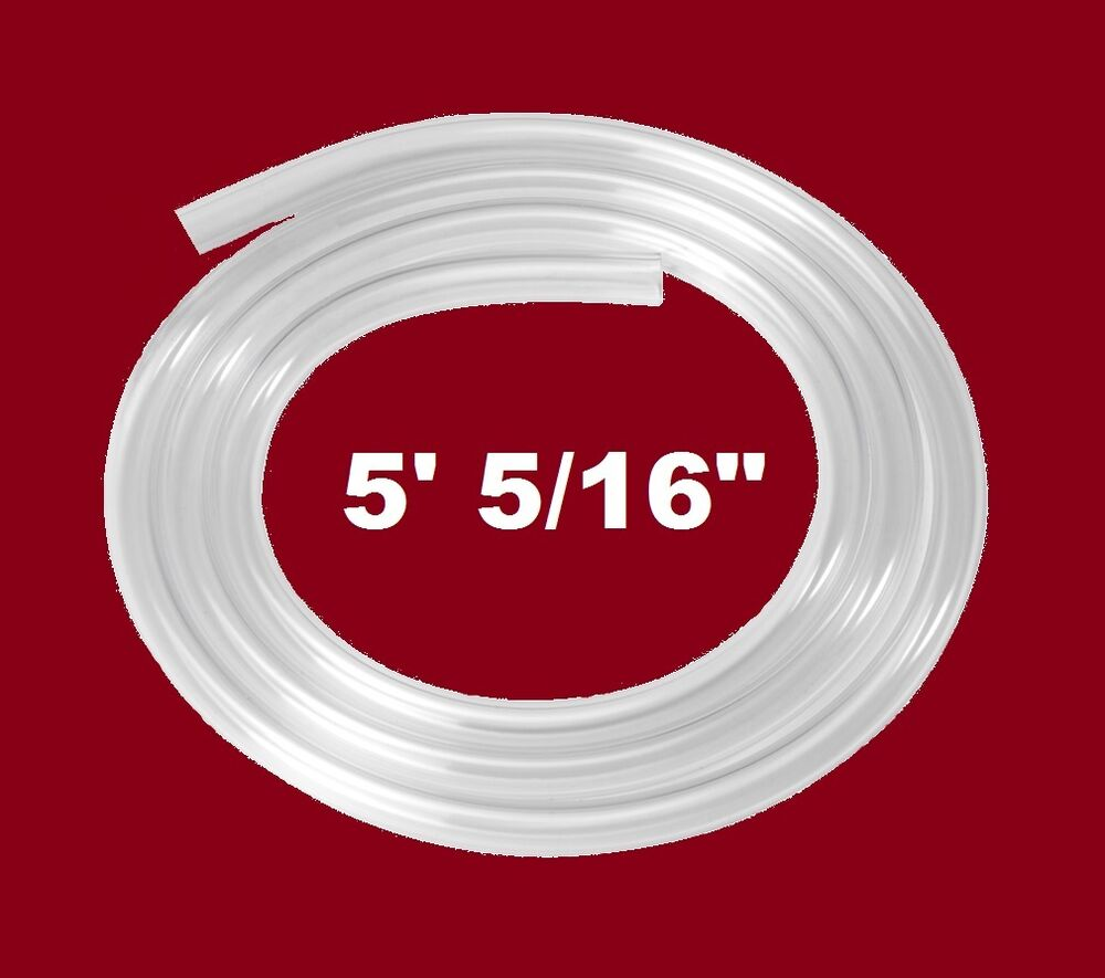 """SIPHON HOSE 5' of 3/8"""" CLEAR FOOD GRADE TUBING FOR RACKING ..."""