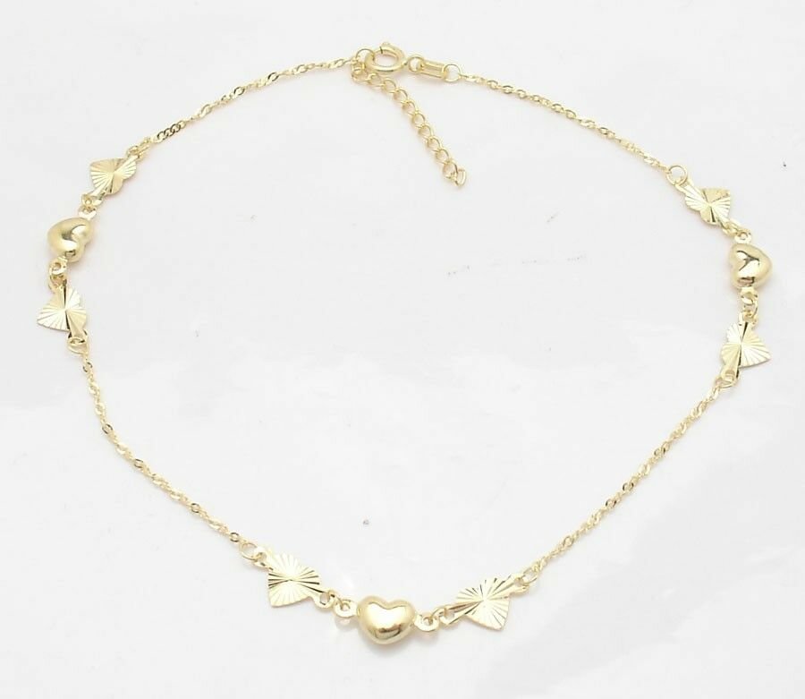 Adjustable Cable Chain Puffed Heart Ankle Bracelet Anklet
