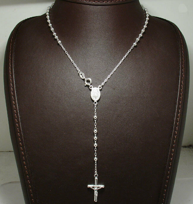 3mm Rosary Chain Necklace Cross Crucifix Real Solid
