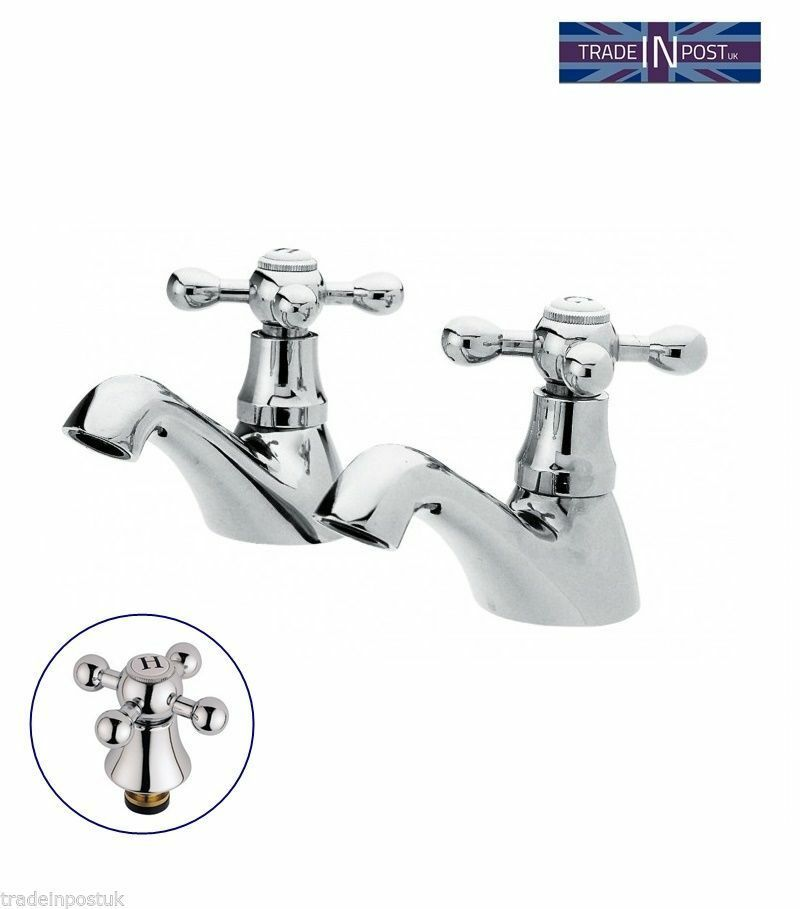 Traditional Bathroom Classic Basin Sink Pillar Taps 2 Hot Cold Pair Sterling Ebay