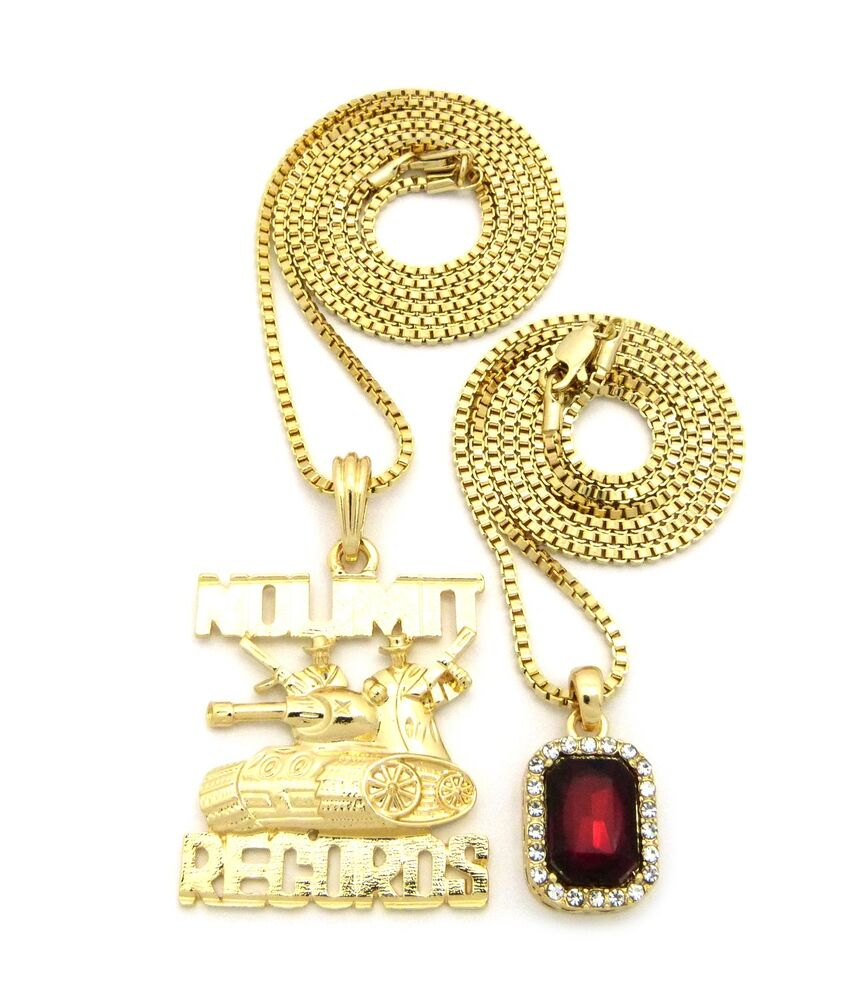 Hip Hop Iced Out Red Stone, No Limit Records Pendant Chain ...