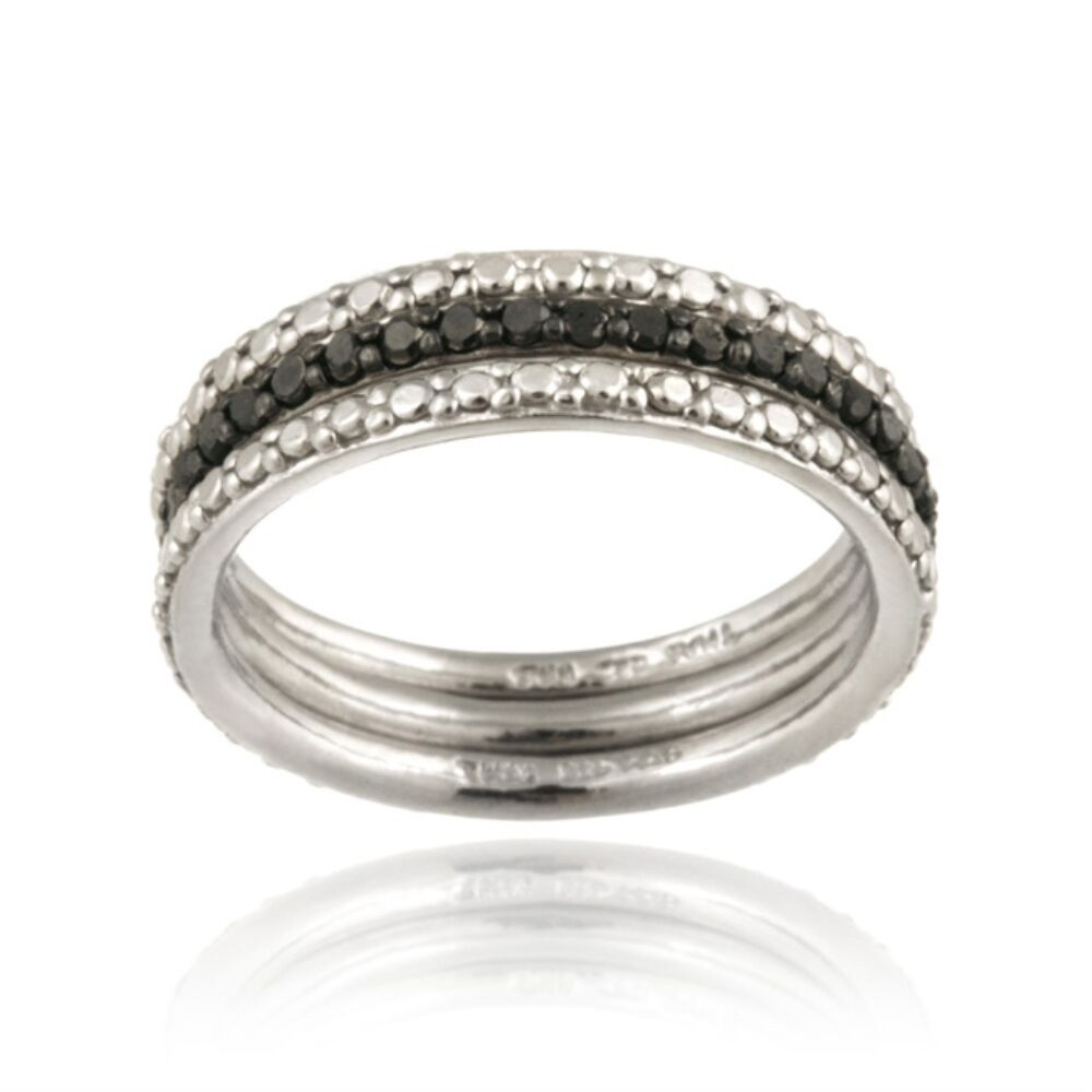 Black White Diamond Band Ring