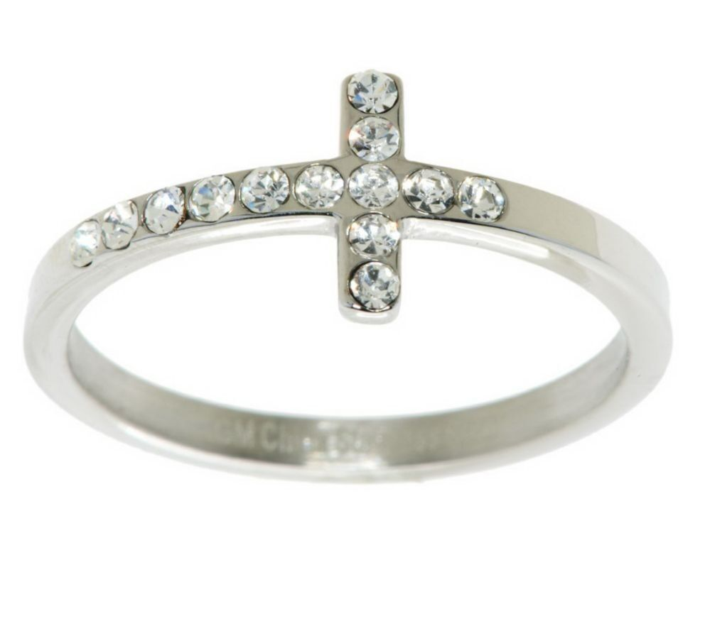 Qvc Pave Crystal Cross Ring Stainless Steel By Design