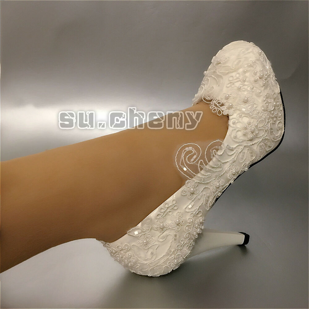 Wedding Shoes Lace Pearl White Bridal Flats Low Heel High