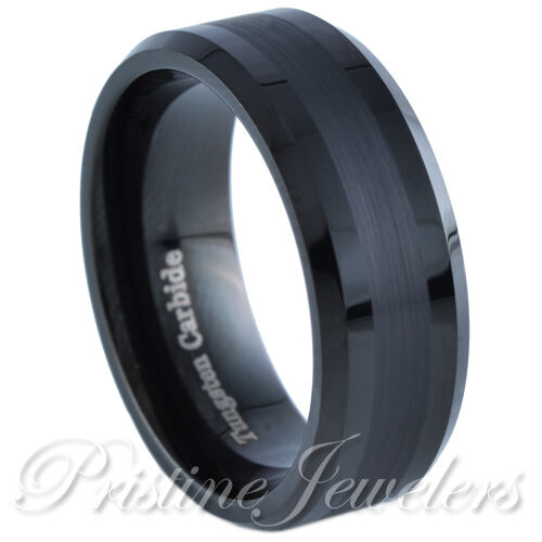 Black Tungsten Carbide Ring Two Tone Brushed Wedding Band