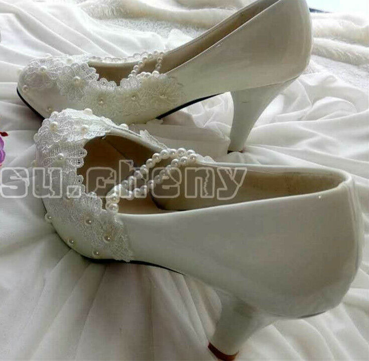 Pink Wedding Shoes Low Heel: White Lace Pearls Wedding Shoes Bridal Flats Low High Heel