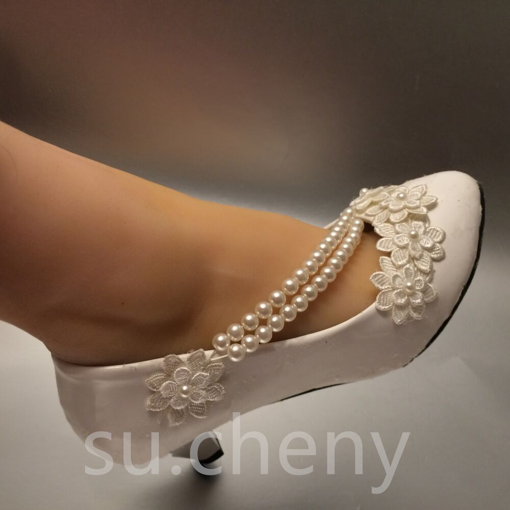 White Lace Crystal Wedding Shoes Bridal Flats Low Heel